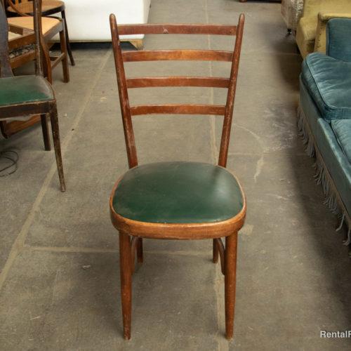 Sedia vintage in legno con seduta smeraldo anni '40