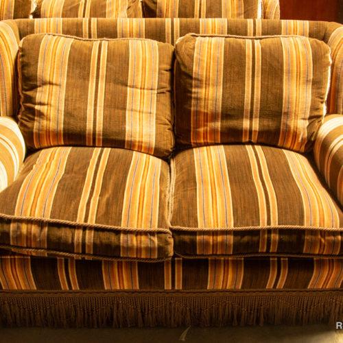 Set divani e poltrone marrone a righe anni '60 doppio