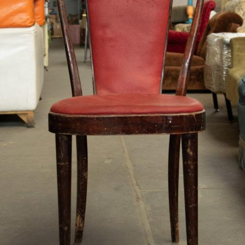 Sedia vintage in legno con seduta imbottita rossa anni '40