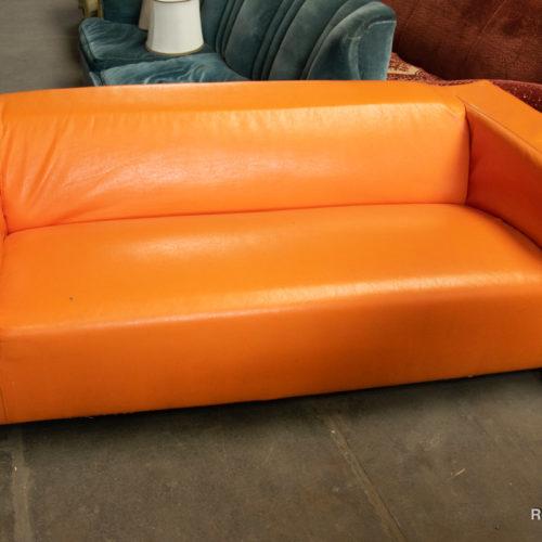 Divano moderno in pelle arancione