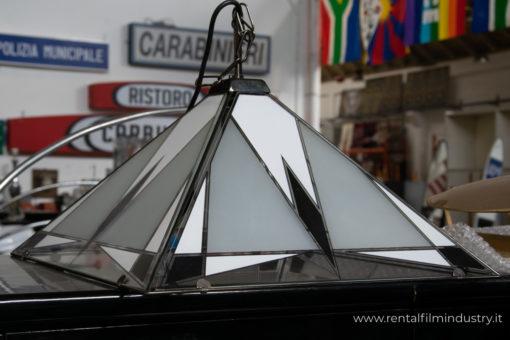 Lampadario in vetro con motivi geometrici anni '80