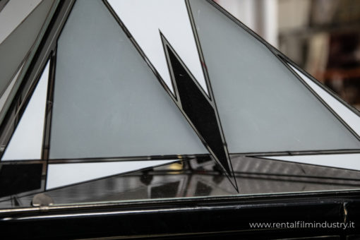 Lampadario in vetro con motivi geometrici anni '80 dettaglio
