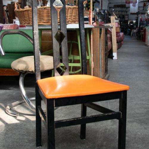 Sedie in legno con tessuto arancione anni '80