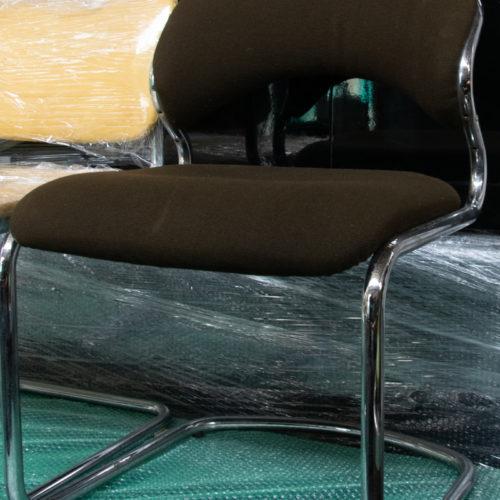 Sedia da ufficio in tessuto marrone anni '70/'80