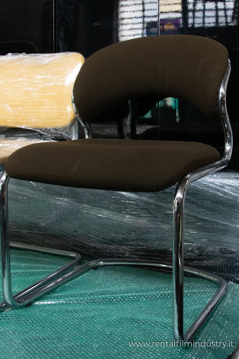Sedie Da Ufficio Marrone.Sedia Da Ufficio In Tessuto Marrone Anni 70 80 Rental Film Industry