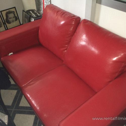 Divano in pelle rosso moderno