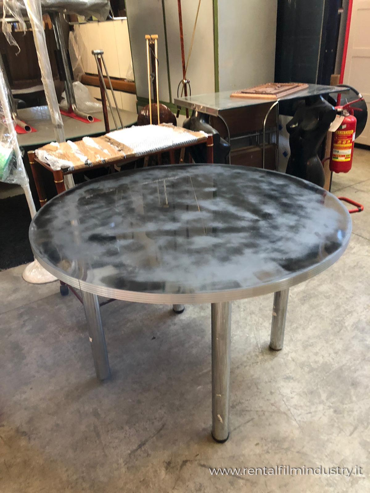 Tavolo tondo in acciaio moderno rental film industry for Tavolo tondo allungabile moderno